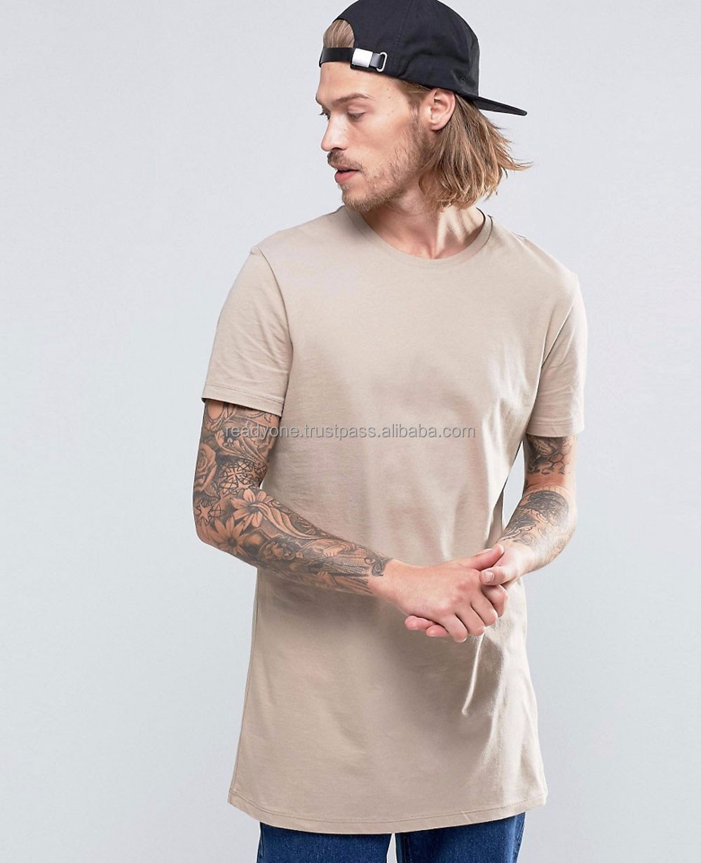 Hip hop style super longline curved hem 100% cotton breathable men t-shirt wholesale