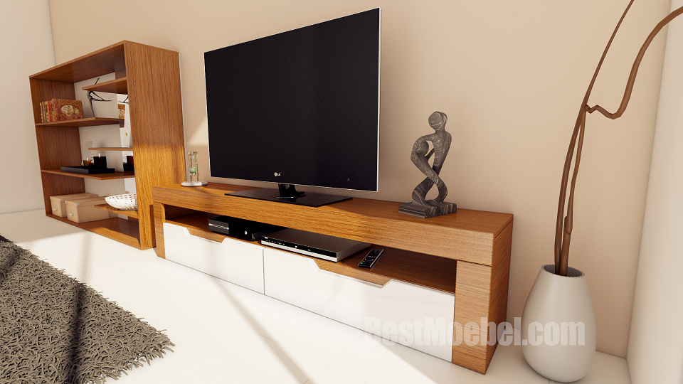 Premium TV Stand Palisander Veneered, High Gloss, Painted, Frusitti, Made in EU