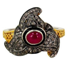 Victorian 1.00 Ct Rose Cut Diamond Created Ruby Sterling Silver Engagement Ring