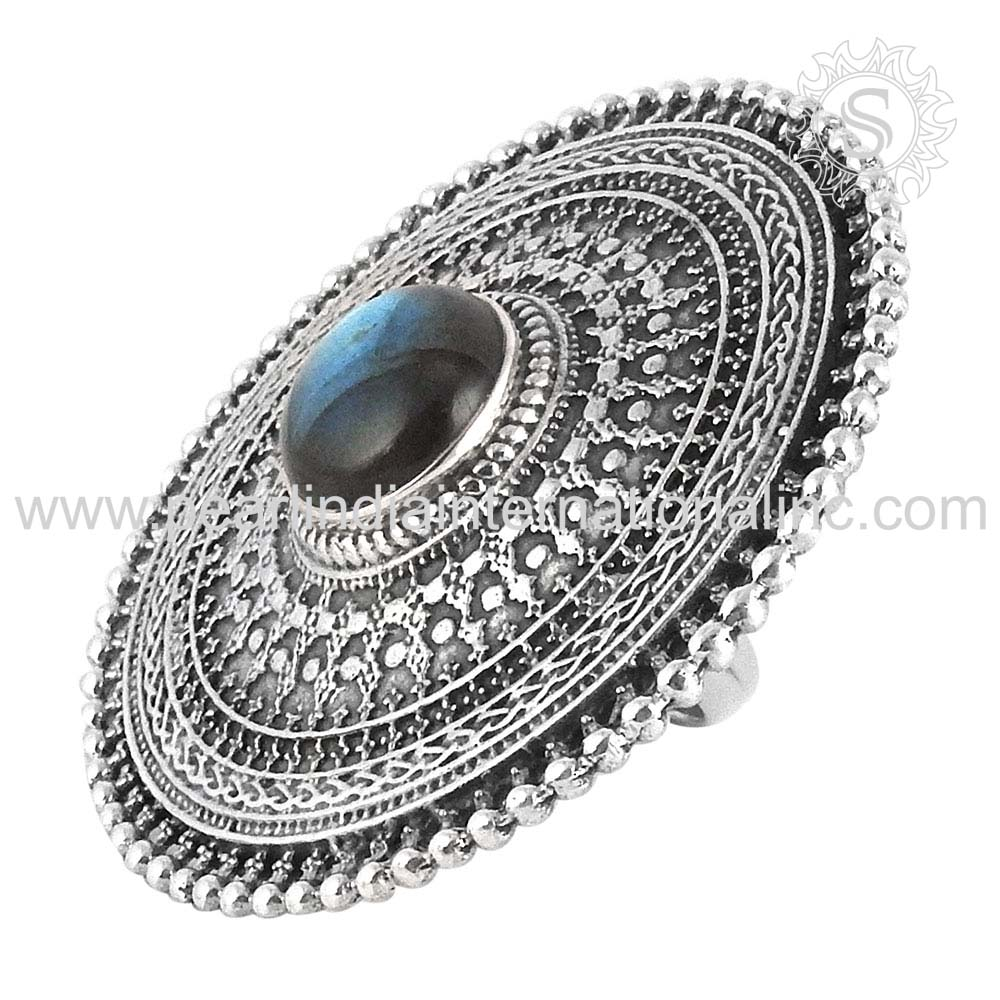 Delicate Blue Labradorite Gemstone Wedding Ring Sterling Silver Jewelry Supplier Wholesaler Silver Jewellery Online