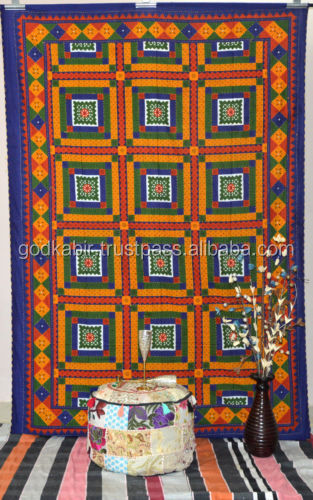 Indian Kantha Tapestry Designer Kantha Handmade Bedspread Cotton Bedding Blanket