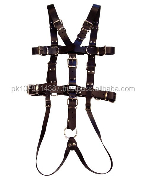 NEW 2015 BLACK BONDAGE FULL SLAVE MEN'S HARNESS SOFT LEATHER MATERIAL