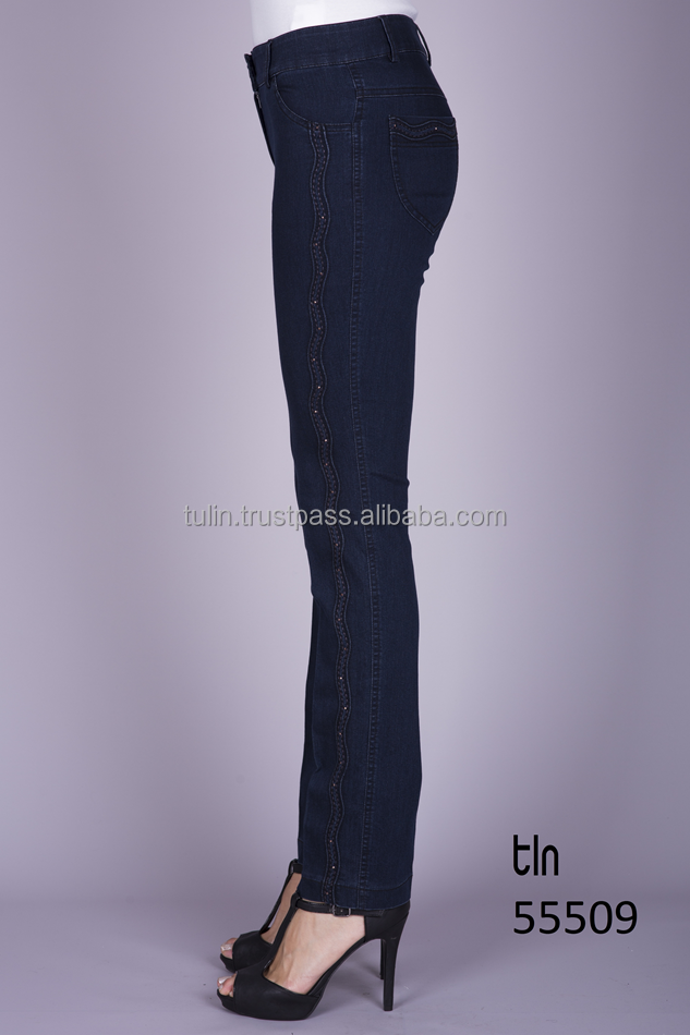 Wholesale Made in Turkey High Quality Fashion Denim Pants Boot Cut Embroidered Jeans for Women
