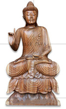 Wooden Buddha meditating, hand carved by suar wood