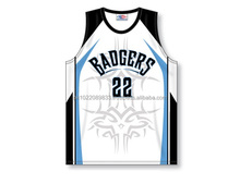 100% Polyester Custom Sublimated V-Neck Badgers Pro Cut Basketball Jersey / Shirt