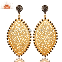 Gold Plated 925 Silver Wedding Earring Blue Sapphire Gemstone Earring Manufacturer Pave Diamond Jewelry