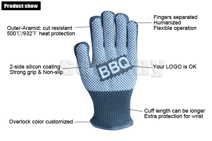 SEEWAY 35 cm BBQ Heat Resistant Aramid Anti Fire Gloves For Oven