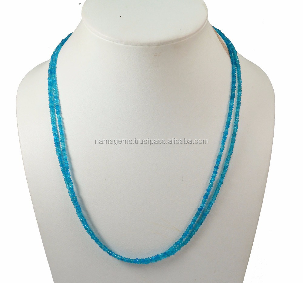 Neon Apatite Gemstone 3-4 mm Rondelle Faceted Loose Beads Jewelry For Wedding Neckalce