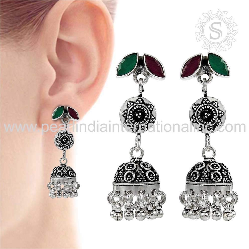 Green Onyx, Ruby Gemstone Jhumki 925 Sterling Silver Jewelry Solid Sterling Silver Earrings Indian Silver Jewelry Supplier