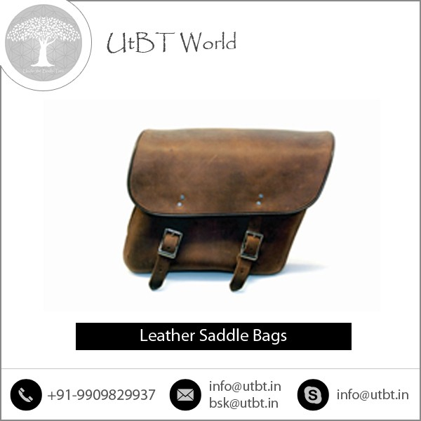 Smart look and Attractive Design Manufactured Leather Saddle Bags for Motorbikes