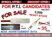 PTI Bats / Mini Bats / Promotional Bats / Wooden Bats / Signature Bats / Bats for kids / Autograph Bats