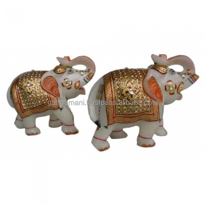 Marble Elephant Pair With Red Gold Work