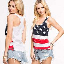 American Flag Summer Tank Top Slim sleeveless Tees Top White Summer Short T-shirt Tank tops