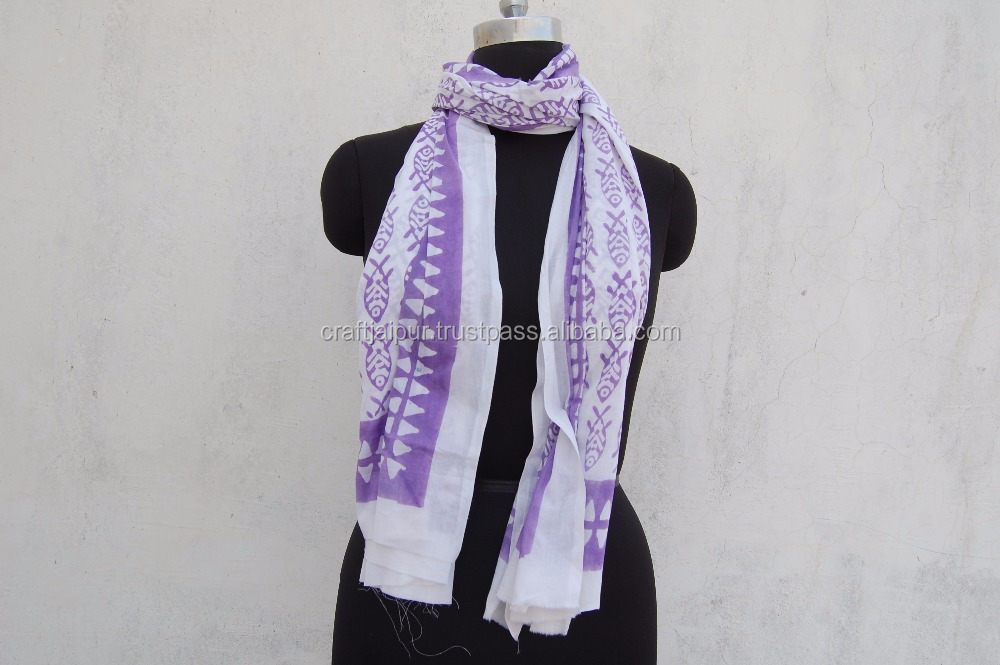 Fish Printed Long Stole Indian Cotton Sarong Pareo Scarves