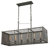 Industrial Pendant Chandelier in French Vintage with antique finish