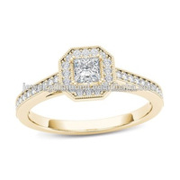 1/2 CT. T.W. Princess-Cut Diamonds Octagonal Frame 3 Stone Diamond Ring Mens Rings Wedding Sets