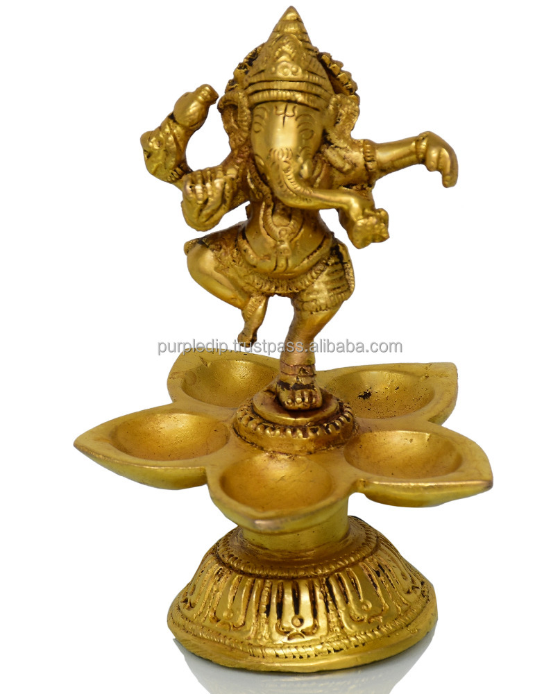 Dancing Ganesha Brass Oil Lamp: 5 Diya / Deepak Showpiece Gift (10713)
