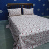 indian fabric wood printed red paisiey design bed sheet duvet cover