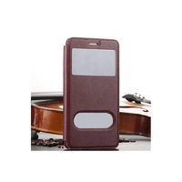 Plastic Dual Window Leather Flip Phone Cover for Huawei Honor 5C - Wine Red