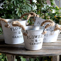 Galvanized Flower Pot With Jute Handle Galvanized | Galvanized Garden Pot And Planters
