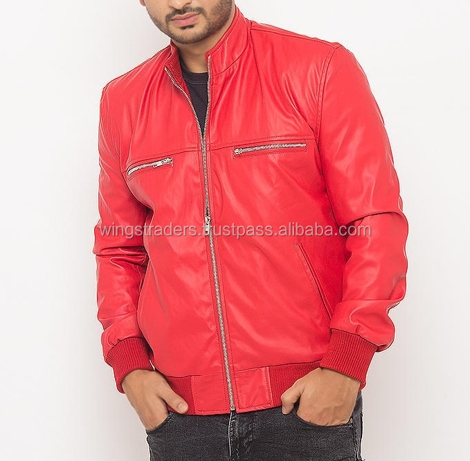 Soft And smooth lamb skin Red Leather Moto Jacket, Sexy Genuine Leather Jacket - XS S M L XXL Made In Pakistan
