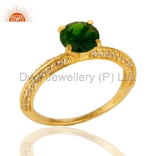 Gold Plated 925 Silver Engagement Ring Chrome Diopside And White Topaz Gemstone Rings Manufacturer of Wedding Jewelry Wholesaler