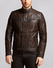 Branded Brown Designer Premium Fashion Waxed Men' Leather Jacket