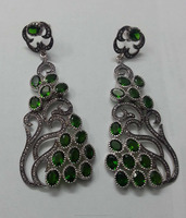 Elegant Natural Emerald Stone and Diamond Silver Victorian Pave Earring Jewelry Manufacturer