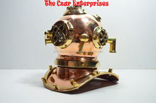 Solid brass and copper diving helmets