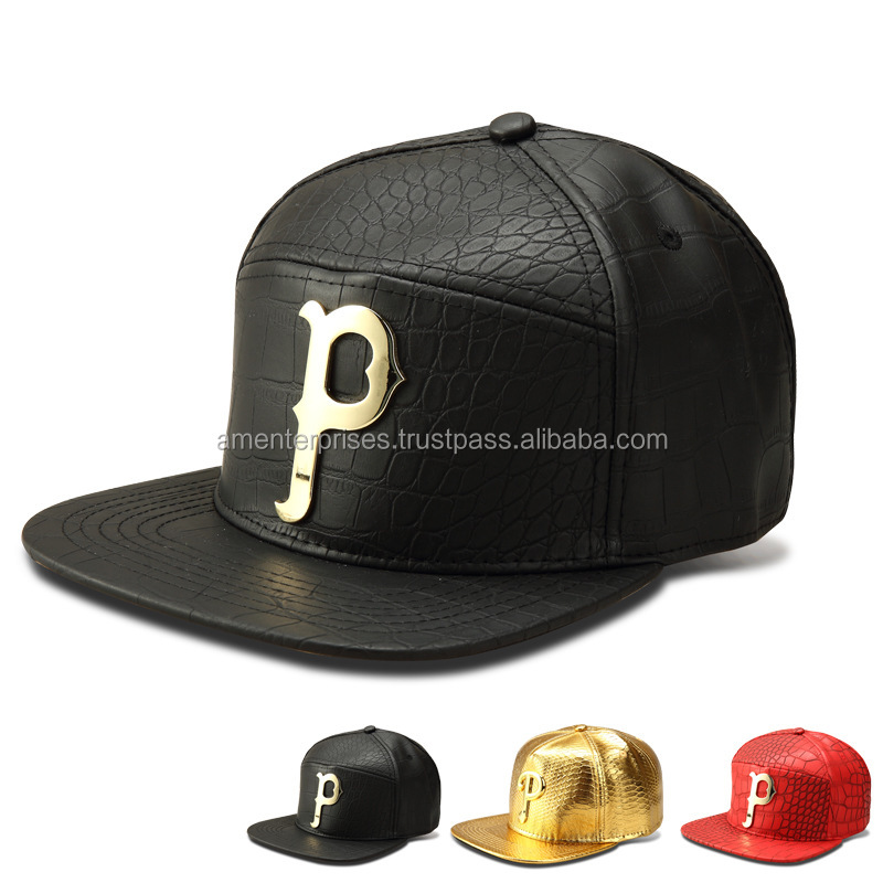 2017 leather baseball caps - fashion black leather snapback cap with Metal on front - Leather snake skin brim snapback caps