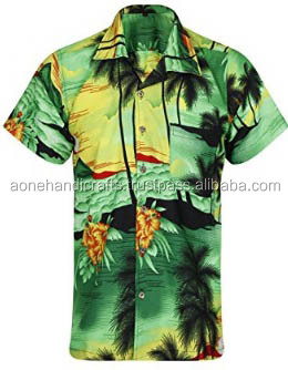 Mens Fancy Dress Beach Summer Party Floral Palm Tree Hawaiian shirt