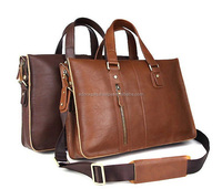 Classic Brown Genuine Leather Fashion Laptop Bag