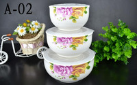 HOT Wholesale 3pcs ceramic fresh bowl, ceramic food storage container with lid,ceramic noodle bowl