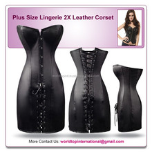 Plus Size Lingerie 2X Leather Corset Mini Dress SEXY Bustier Fetish Club LingerieString Decoration Corset