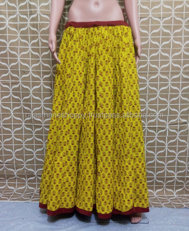 Factory Price Hot Quality Luxurious Indian Block Print Cotton Skirt