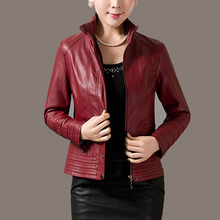 Soft smooth lamb skin Red Women Ladies Fashion Stylish Sexy Premium Genuine Leather Jacket - XS S