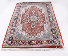 Indian Hand Knotted Kashmiri Antique Wool Viscose Art 4x6 Silk Carpet Area Rug
