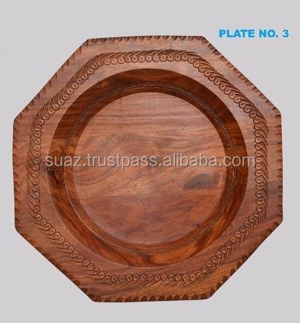 Hand made wooden Plates , Wooden Carved Plates , Carved Wooden Wall Plate , Hand Carved Wooden Plates