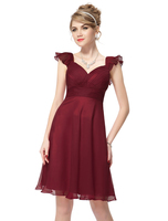Short Cap Sleeve Red V-neck Short Cocktail Dress For Party HE03930 Mix Wholesale