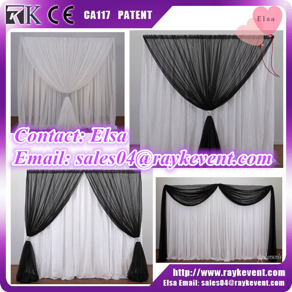 Birthday party portable backdrop stand pipe and drape diy black and white backdrop curtain for sale