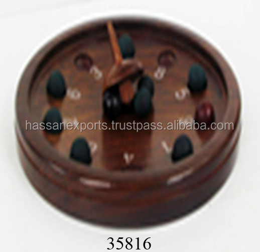Wooden Roulette Game With Ball & Spinning Top