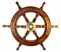 "24"" Classic Traditional Ship`S 6 Spoke Wooden Wheel Brass Ring Wooden Ship Wheel"