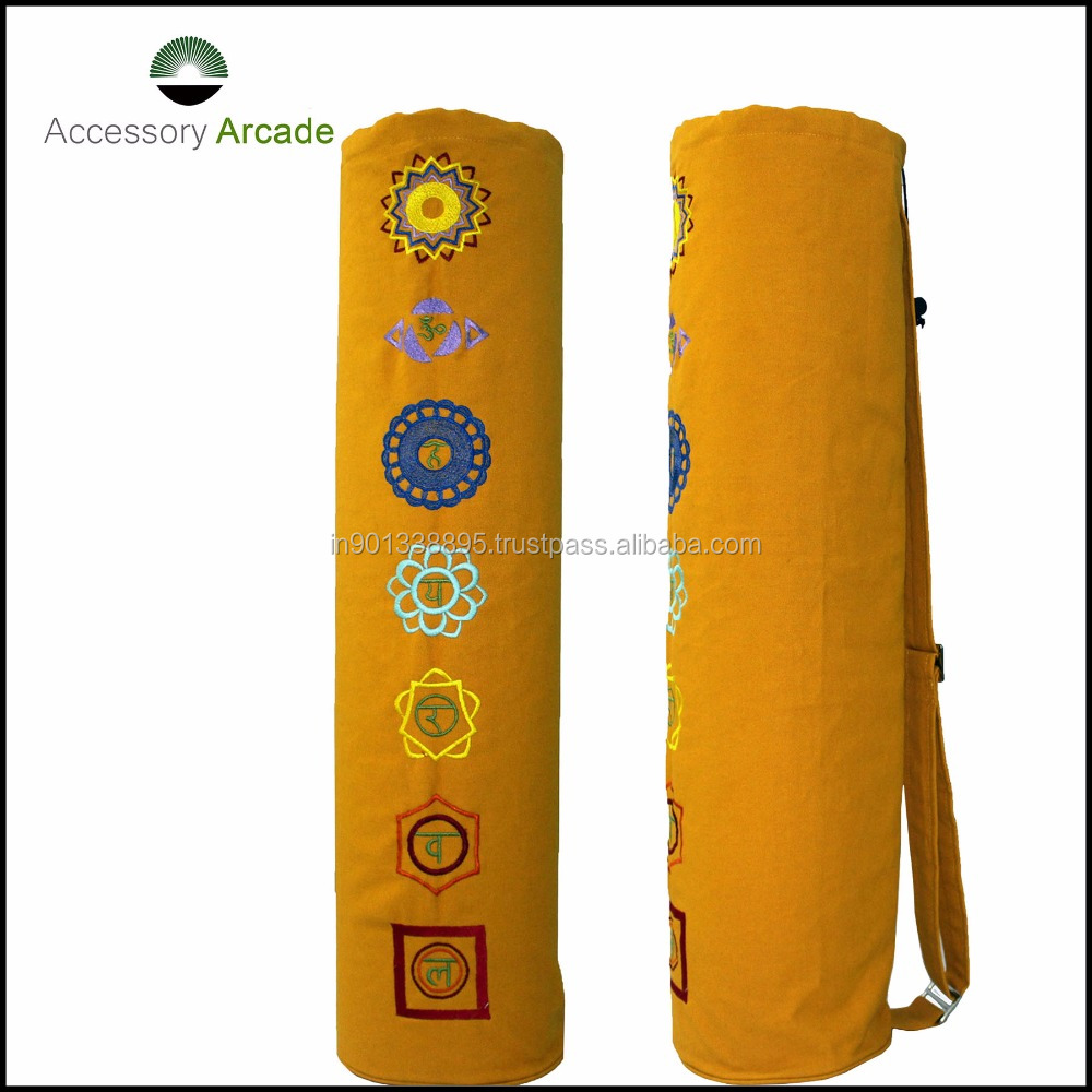 seven chakras of life embroidered Yoga Mat Bag