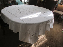 White Embroidered Table Cloth and 8 Napkins/White Table Cloth/Winter White Table Cover.