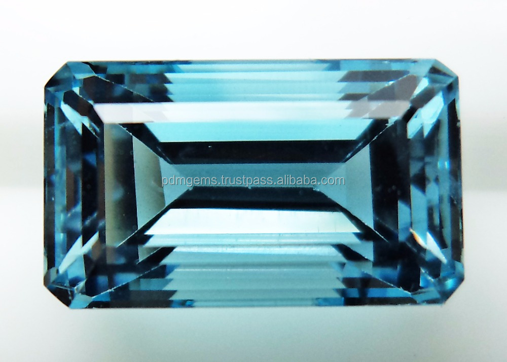 Natural Santa Maria Aquamarine Stone Faceted Octagon Cut Jewelry Gemstone Manufacturer Wholesaler
