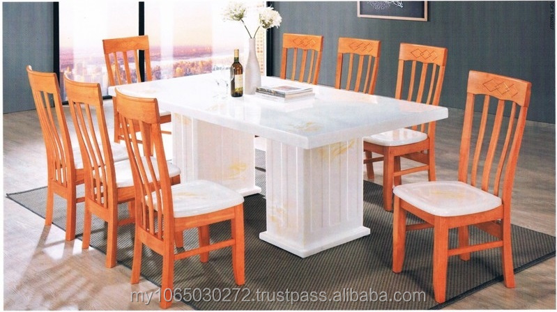 1 + 8 Full Marble Dining Table & Milano Chair with marble seat
