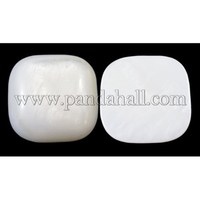 White Cabochon, Fresh Water Shell Beads, Square, 18mm long, 18mm wide, 4.5mm thick PBB241Y