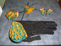 Falconry squirrel chaps, hood, glove and hood protector Falconry Glove