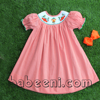 Pumpkin and Scarecrow hand smocked bishop dress with hairbow- BB324