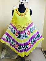 Hand painted long Umbrella Dress yellow maxi clothing factory in India Umbrella cut Sundress
